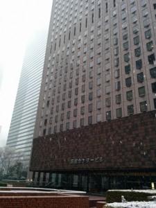 新宿センタービル雪模様-1